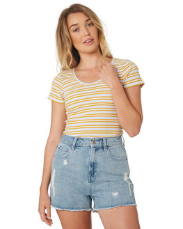 GOLD BLUE WHT WOMENS CLOTHING ALL ABOUT EVE TEES - 6426004STR2