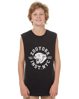 BLACK KIDS BOYS ZOO YORK SINGLETS - ZY-YTC7135BLK