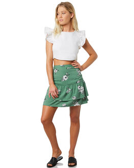 GREEN FLORAL WOMENS CLOTHING ELWOOD SKIRTS - W91614-5FH