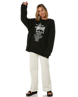 BLACK WOMENS CLOTHING STUSSY JUMPERS - ST106310BLK