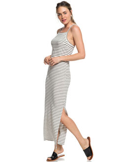BLACK STRIPES WOMENS CLOTHING ROXY DRESSES - ERJKD03230KVJ3