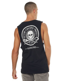 BLACK MENS CLOTHING SEA SHEPHERD SINGLETS - SSA831ABLK
