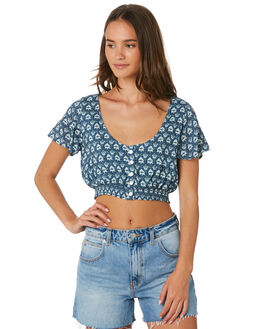 SLATE BLUE WOMENS CLOTHING RIP CURL FASHION TOPS - GSHFT11115