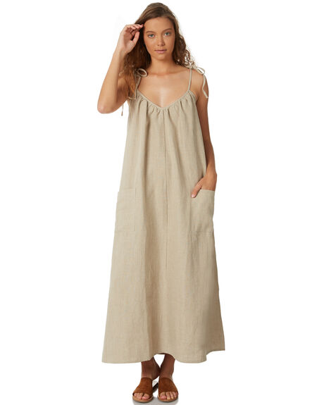 NATURAL  LINEN WOMENS CLOTHING SAINT HELENA DRESSES - SH18AW508-NAT