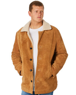 TAN SUEDE MENS CLOTHING ROLLAS JACKETS - 155983738