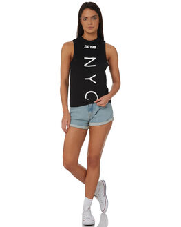 BLACK WOMENS CLOTHING ZOO YORK SINGLETS - ZY-WTC8394BLK