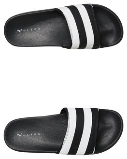 BLACK STRIPE MENS FOOTWEAR RUSTY SLIDES - FOM0340BKSMS