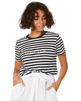 BLACK STRIPE WOMENS CLOTHING COOLS CLUB TEES - 101-CW1BLKS