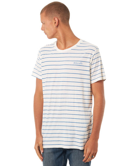 WHITE BLUE MENS CLOTHING ROLLAS TEES - 151683158