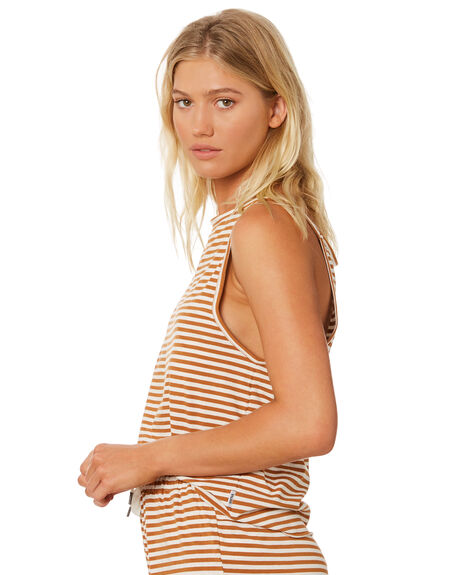 BISCUIT BONE STRIPE WOMENS CLOTHING RPM SINGLETS - 8SWT08ABIS