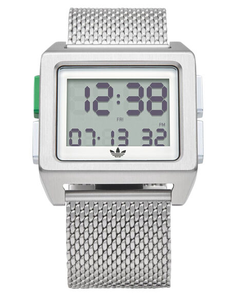 SILVER WHITE GREEN MENS ACCESSORIES ADIDAS WATCHES - Z01-3244