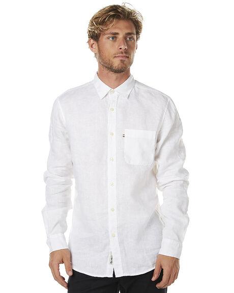 Academy Brand Hampton Linen Mens Ls Shirt White Surfstitch