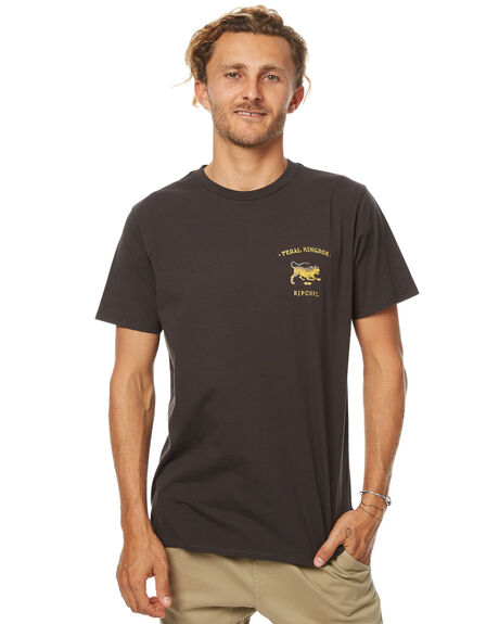 WASHED BLACK MENS CLOTHING RIP CURL TEES - CTEFF28264