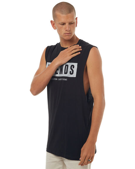 BLACK MENS CLOTHING AFENDS SINGLETS - 01-08-005BLK