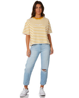 GOLD CREAM STRIPE WOMENS CLOTHING RPM TEES - 8PWT04BGLDS