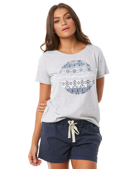 LIGHT GREY HEATHER WOMENS CLOTHING RIP CURL TEES - GTEVU13233