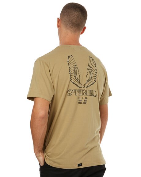 ARMY GREEN MENS CLOTHING THRILLS TEES - SMU-154AGRN