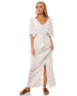 WHITE FLORAL OUTLET WOMENS WILDE WILLOW DRESSES - K370WHTF
