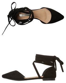BLACK SUEDE WOMENS FOOTWEAR BILLINI FLATS - F3861