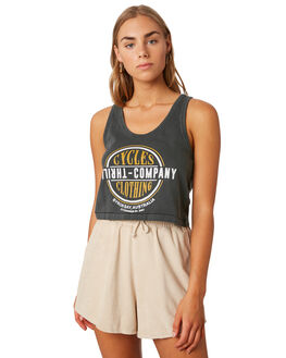 MERCH BLACK WOMENS CLOTHING THRILLS SINGLETS - WTS9-131MBBLK