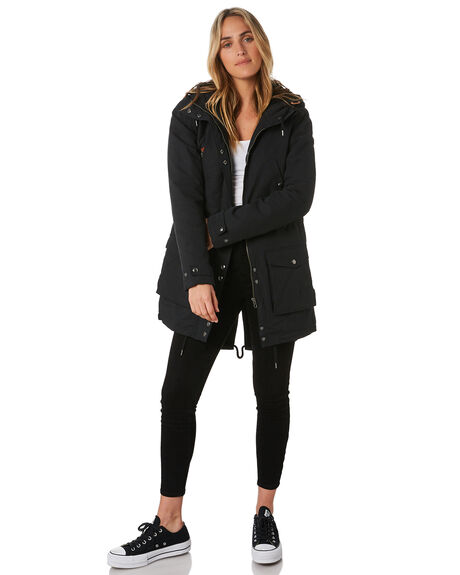 BLACK WOMENS CLOTHING VOLCOM JACKETS - B1531950BLK