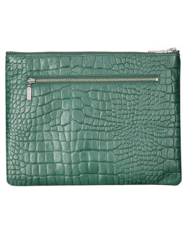 TEAL CROC EMBOSS WOMENS ACCESSORIES STATUS ANXIETY PURSES + WALLETS - SA1287TLCRC