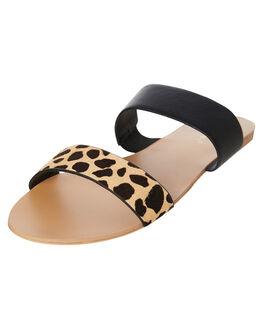 BLACK GIRAFFE PONY WOMENS FOOTWEAR BILLINI SLIDES - S428BLKG