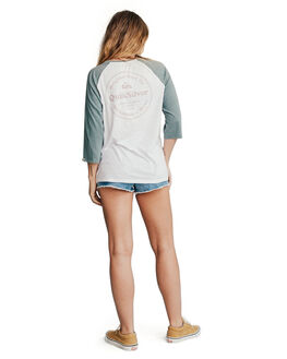 STORMY SEA/WHITE WOMENS CLOTHING QUIKSILVER TEES - EQWKT03004-XBBW