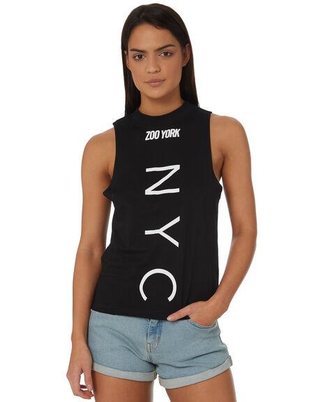 BLACK WOMENS CLOTHING ZOO YORK SINGLETS - ZY-WTC8394BLK