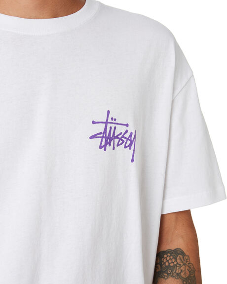 WHITE MENS CLOTHING STUSSY TEES - ST093001WHITE