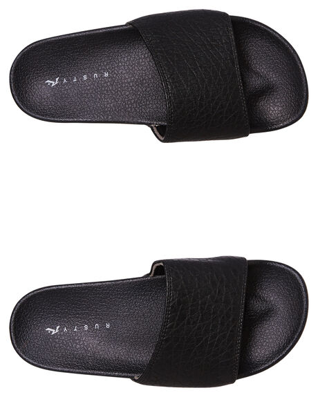 BLACK WOMENS FOOTWEAR RUSTY SLIDES - FOL0369-BLK