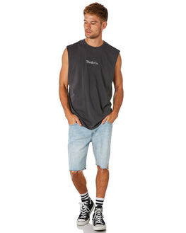 VINTAGE BLACK MENS CLOTHING THRILLS SINGLETS - TS8-103VBVNBLK