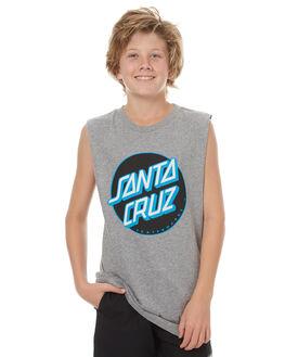 GREY HEATHER KIDS BOYS SANTA CRUZ SINGLETS - SC-YTNC006GRY