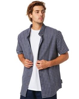 NAVY WHITE CHECK MENS CLOTHING LOWER SHIRTS - LO20Q1MSHI30NWCHK
