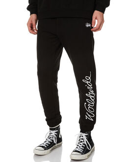 SOLID BLACK MENS CLOTHING STUSSY PANTS - ST071603SBLK