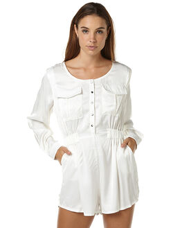 WHITE WOMENS CLOTHING ZULU AND ZEPHYR PLAYSUITS + OVERALLS - ZZ1091WHT