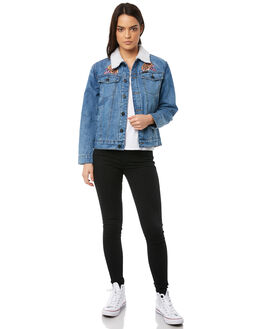 LIGHT INDIGO WOMENS CLOTHING SANTA CRUZ JACKETS - SC-WJA8544LIND