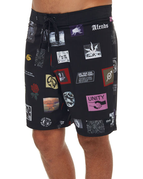 MULTI MENS CLOTHING AFENDS BOARDSHORTS - M181301MUL
