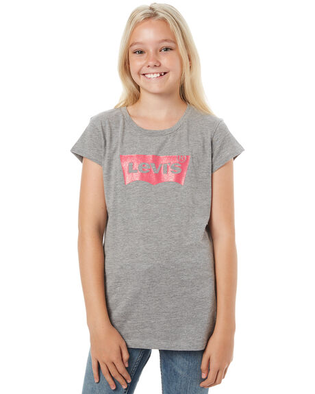 HEATHER GREY KIDS GIRLS LEVI'S TEES - 37391-0069HGRY