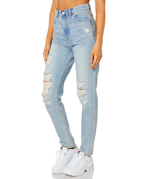 DESTINY LT BLUE RIP WOMENS CLOTHING DR DENIM JEANS - 2020103I50