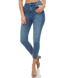 MID BLUE RAW HEM WOMENS CLOTHING DR DENIM JEANS - 1410104G43