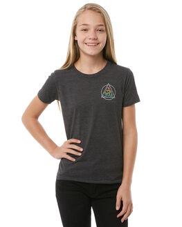 HEATHER BLACK KIDS GIRLS VOLCOM TEES - B35118Y1HBK
