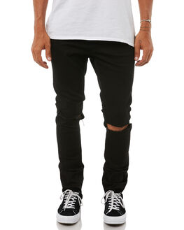 RIPPED BLACK MENS CLOTHING CHEAP MONDAY JEANS - 0500617RIPBK