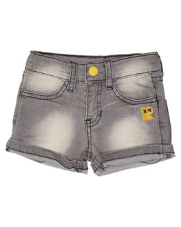 GREY WASH KIDS TODDLER BOYS ROCK YOUR BABY SHORTS - TBP1810-VGGRYW