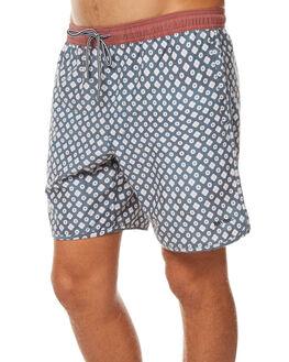 NAVY BURNT RED MENS CLOTHING RHYTHM BOARDSHORTS - JUL17-JAM08-NAV
