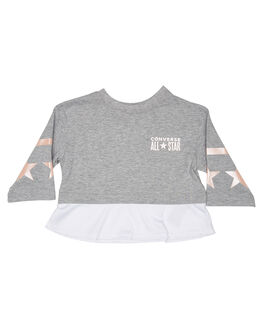 DARK GREY HEATHER KIDS GIRLS CONVERSE TOPS - R369784042