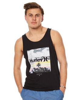 BLACK MENS CLOTHING HURLEY SINGLETS - AMSISPTT00A