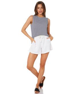 NAVY WHITE STRIPE WOMENS CLOTHING BETTY BASICS SINGLETS - BB542STP
