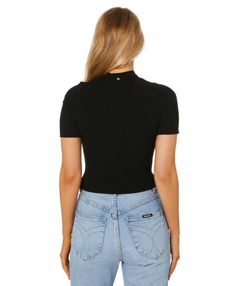 BLACK WOMENS CLOTHING RUSTY TEES - FSL0578BLK