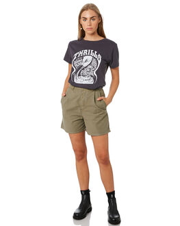 WASHED BLACK WOMENS CLOTHING THRILLS TEES - WTA20-115BWWHBLK